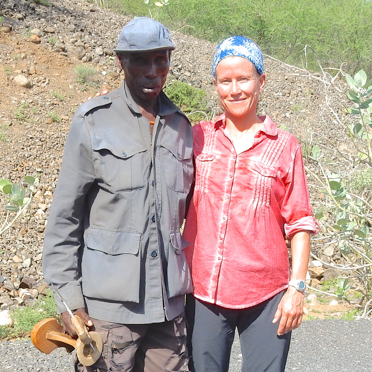 The Hamer tribesman and me, on the road to the Lower Omo Valley.